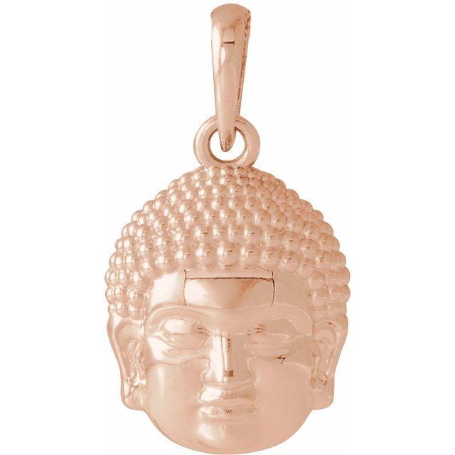 14K Rose 14.7x10.5 mm Meditation Buddha Pendant