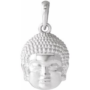 Sterling Silver 14.7x10.5 mm Meditation Buddha Pendant