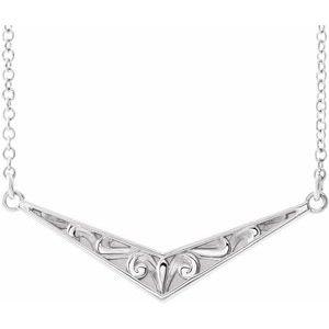 """Sterling Silver Sculptural """"V"""" 16"""" Necklace"""