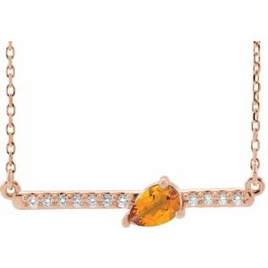 "14K Rose Citrine & 1/10 CTW Diamond 18"" Necklace"