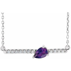 "14K White Amethyst & 1/10 CTW Diamond 18"" Necklace"