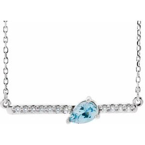 "Sterling Silver Aquamarine & 1/10 CTW Diamond 16"" Necklace"