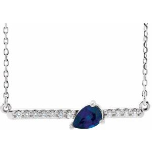 "14K White Chatham® Lab-Created Blue Sapphire & 1/10 CTW Diamond Bar 16"" Necklace"