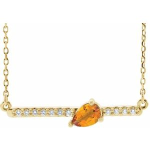 "14K Yellow Citrine & 1/10 CTW Diamond 18"" Necklace"