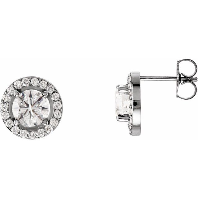 14K White 1 9/10 CTW Diamond Halo-Style Earrings