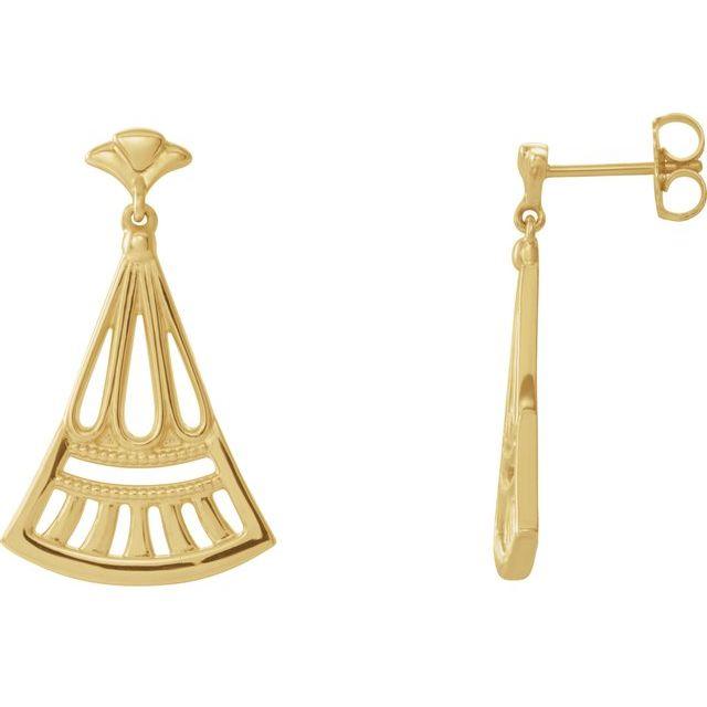 14K Yellow Vintage-Inspired Dangle Earrings