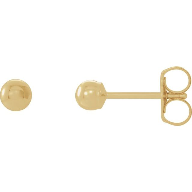 14K Yellow 3 mm Ball Earrings