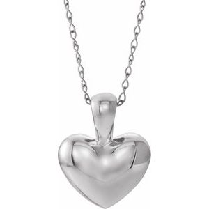 "14K White Youth Heart 15"" Necklace"