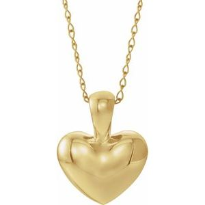 "14K Yellow Youth Heart 15"" Necklace"