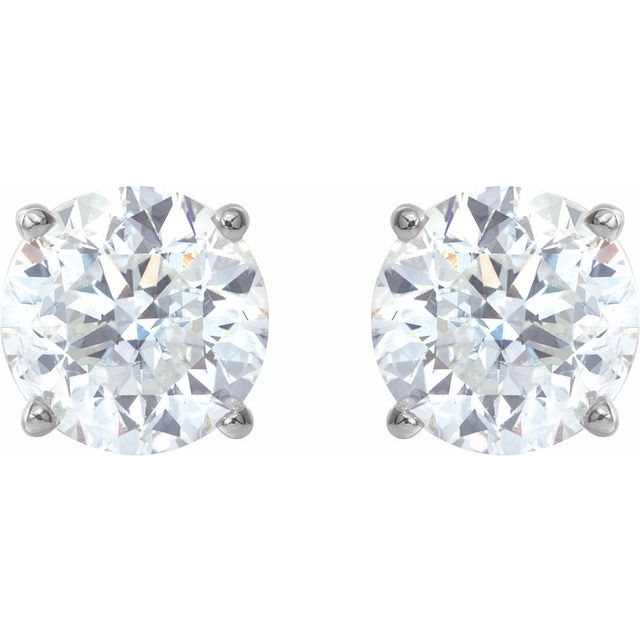 14K White 6 mm Stuller Lab-Grown Moissanite™ Earrings