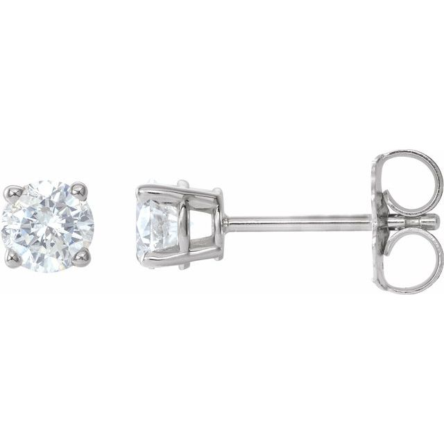Sterling Silver 4.5 mm Round Cubic Zirconia Earrings