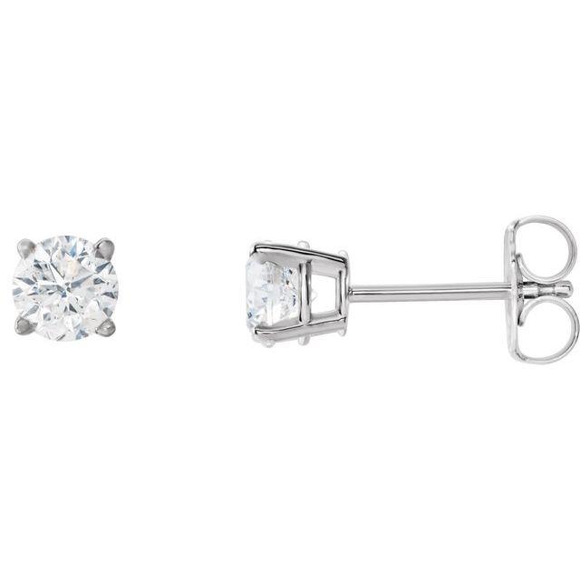 14K White 4.5 mm Round Stuller Created Moissanite™ Earrings