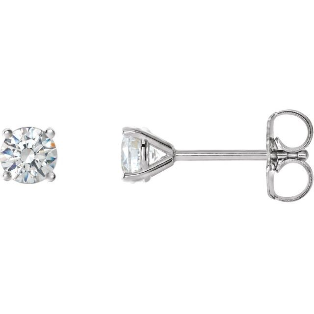 14K White 3/4 CTW Natural Diamond 4-Prong Cocktail-Style Earrings
