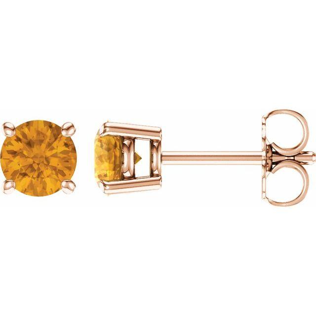 14K Rose 5 mm Natural Citrine Earrings