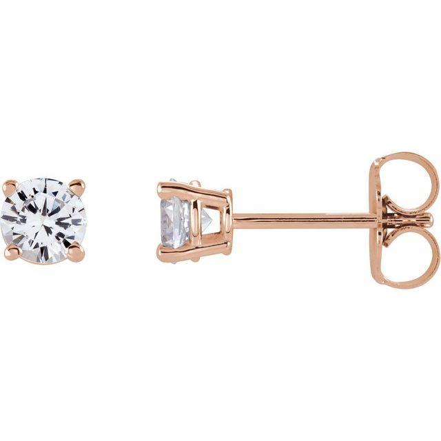 14K Rose 4 mm Round Stuller Lab-Grown Moissanite™ Earrings