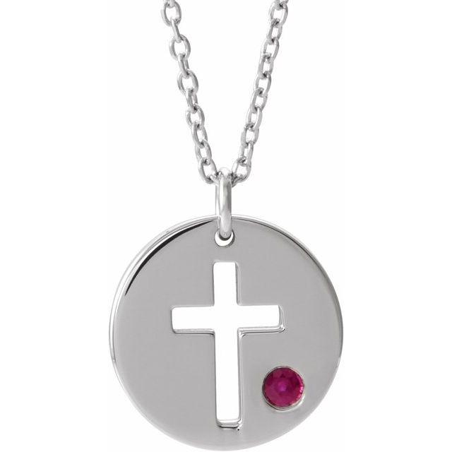 Sterling Silver Imitation Ruby Pierced Cross Disc 16-18