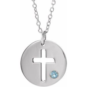 "14K White Aquamarine Pierced Cross Disc 16-18"" Necklace"