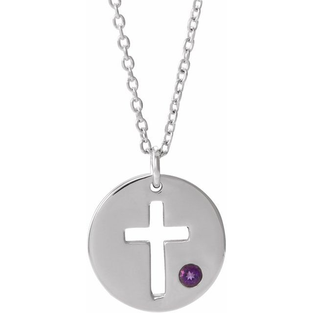 Sterling Silver Imitation Amethyst Pierced Cross Disc 16-18