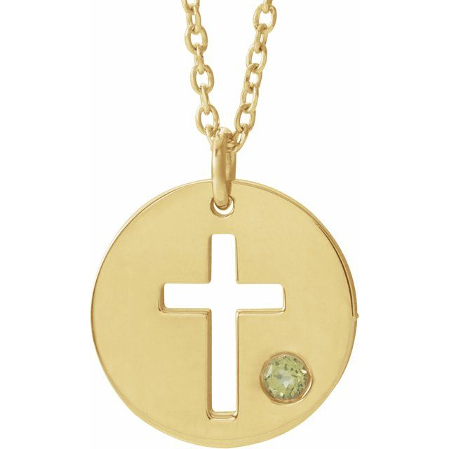 14K Yellow Peridot Pierced Cross Disc 16-18