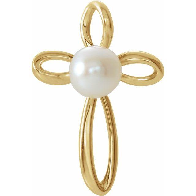 14K Yellow Freshwater Cultured Pearl Cross Pendant