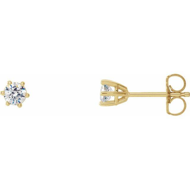 14K Yellow 3 mm I1 1/5 CTW Diamond 6-Prong Wire Basket Earrings
