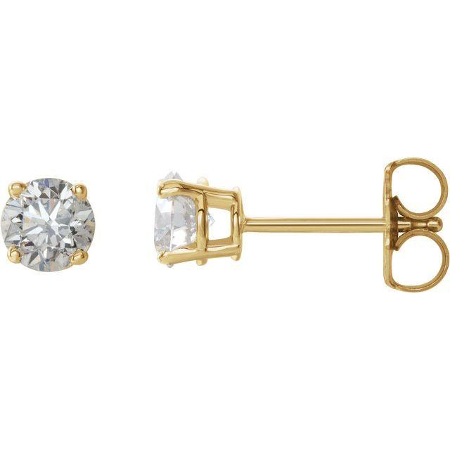 14K Yellow 3/4 CTW Natural Diamond Earrings