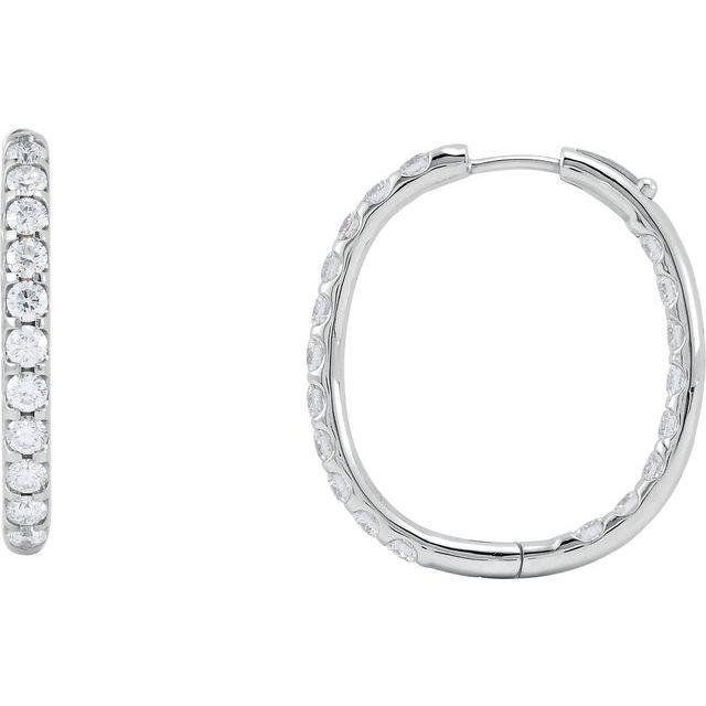 14K White 3 CTW Diamond Inside-Outside Hinged 28.3 mm Hoop Earrings