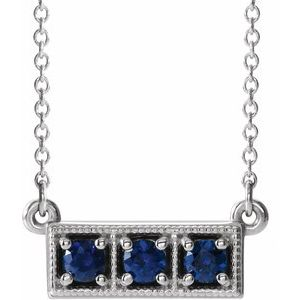 "14K White Chatham® Created Blue Sapphire Three-Stone Granulated Bar 16-18"" Necklace"