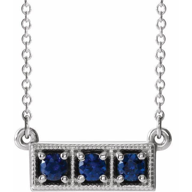 14K White Lab-Grown Blue Sapphire Three-Stone Granulated Bar 16-18