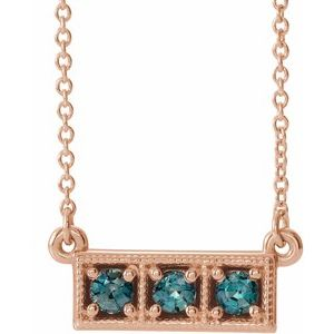 "14K Rose Blue Zircon Three-Stone Granulated Bar 16-18"" Necklace"