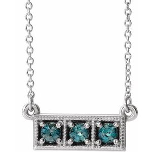 "14K White Chatham® Created Alexandrite Three-Stone Granulated Bar 16-18"" Necklace"