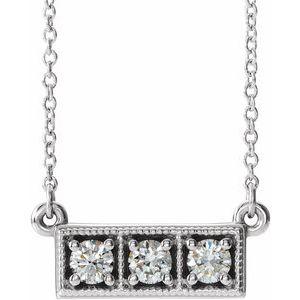 "14K White 1/3 CTW Diamond Three-Stone Granulated Bar 16-18"" Necklace"