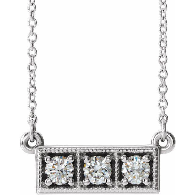 14K White 1/3 CTW Diamond Three-Stone Granulated Bar 16-18