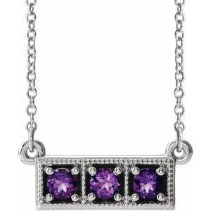 "14K White Amethyst Three-Stone Granulated Bar 16-18"" Necklace"