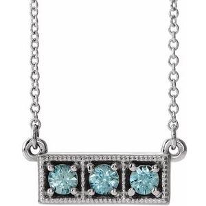 "14K White Blue Zircon Three-Stone Granulated Bar 16-18"" Necklace"