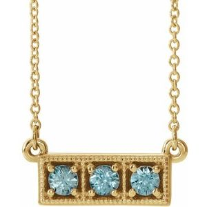 "14K Yellow Blue Zircon Three-Stone Granulated Bar 16-18"" Necklace"