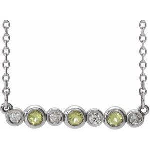 "14K White Peridot & .08 CTW Diamond Bezel-Set Bar 16-18"" Necklace"