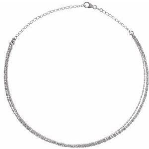 "14K White 3-Strand Bead Chain 13-16"" Choker"
