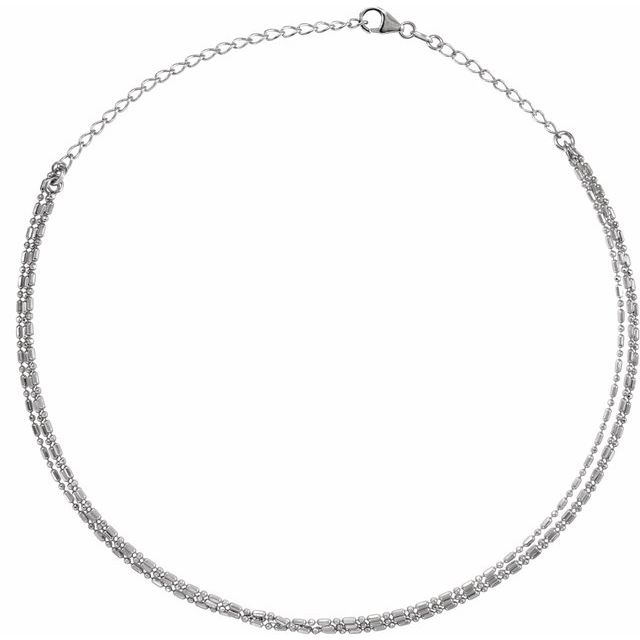 Sterling Silver 3-Strand Bead Chain 13-16