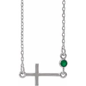 "14K White Chatham® Created Emerald Sideways Accented Cross 16-18"" Necklace"