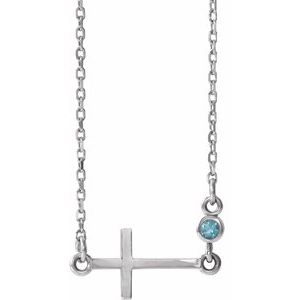 "Sterling Silver Aquamarine Sideways Accented Cross 16-18"" Necklace"