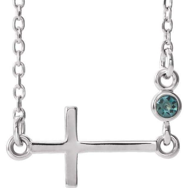 14K White Alexandrite Sideways Accented Cross 16-18