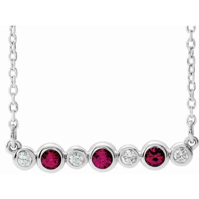 14K White Chatham® Created Ruby & .08 CTW Diamond Bezel-Set Bar 16-18