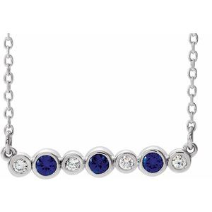 "14K White Chatham® Created Blue Sapphire & .08 CTW Diamond Bezel-Set Bar 16-18"" Necklace"