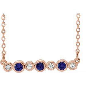 "14K Rose Blue Sapphire & .08 CTW Diamond Bezel-Set Bar 16-18"" Necklace"