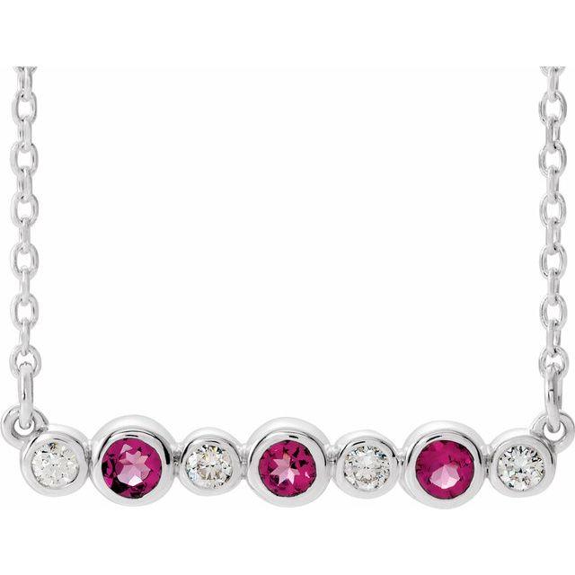 14K White Pink Tourmaline & .08 CTW Diamond Bezel-Set Bar 16-18