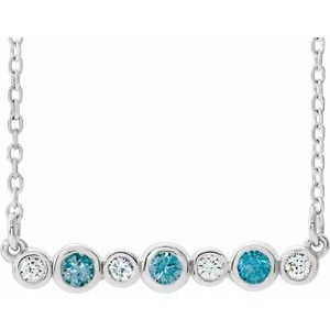 "14K White Blue Zircon & .08 CTW Diamond Bezel-Set Bar 16-18"" Necklace"