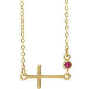 "14K Yellow Chatham® Created Ruby Sideways Accented Cross 16-18"" Necklace"