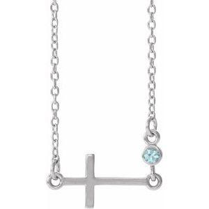 """Sterling Silver Blue Zircon Sideways Cross 16-18"""" Necklace"""
