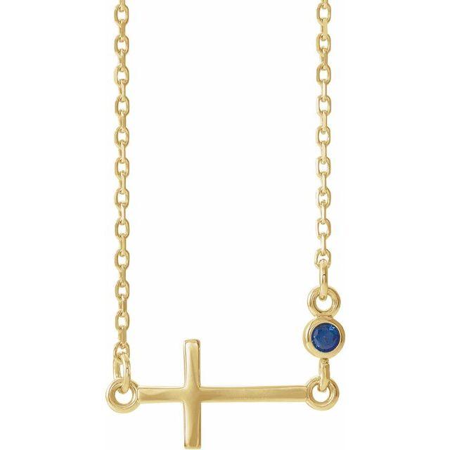 14K Yellow Blue Sapphire Sideways Cross 16-18